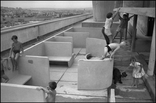 Children frolic on Le Corbusier's Unite d'Habitation in 1959. (Rene Burri/Magnum Photos/Slate)